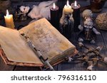old book with magic spells ... | Shutterstock . vector #796316110