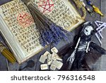 witch book with magic symbols ... | Shutterstock . vector #796316548