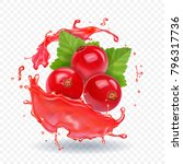 red currant in realistic juice... | Shutterstock .eps vector #796317736