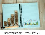 steps of coins stack with... | Shutterstock . vector #796319170