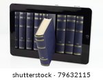 tablet computer with books...   Shutterstock . vector #79632115