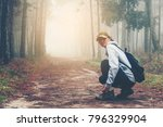 traveller women walking on road ... | Shutterstock . vector #796329904