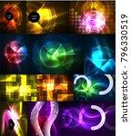set of neon glowing geometric... | Shutterstock .eps vector #796330519