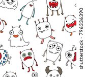 seamless pattern with doodle... | Shutterstock .eps vector #796336390