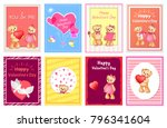 i love you and me teddy bears... | Shutterstock .eps vector #796341604