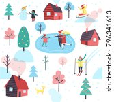 winter seamless pattern with... | Shutterstock .eps vector #796341613