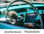 view of steering wheel inside... | Shutterstock . vector #796344034