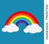 rainbow with cloud icon | Shutterstock .eps vector #796347346