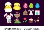 easter sicon set. pixel art.... | Shutterstock .eps vector #796347838