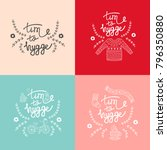 set of hygge backgrounds with... | Shutterstock .eps vector #796350880
