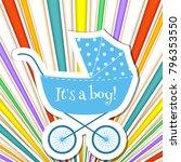 baby frame with stroller on... | Shutterstock .eps vector #796353550