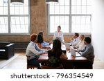 business colleagues at meeting... | Shutterstock . vector #796354549