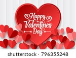 happy valentines day with red... | Shutterstock .eps vector #796355248