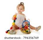 an adorable baby girl happily...   Shutterstock . vector #796356769