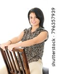 a beautiful teen girl happily...   Shutterstock . vector #796357939