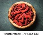 Goji Berries In Wooden Bowl On...