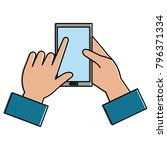 hand with smartphone device | Shutterstock .eps vector #796371334