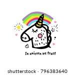 in unicorn we trust. vector... | Shutterstock .eps vector #796383640