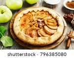 baked galette or open pie with... | Shutterstock . vector #796385080