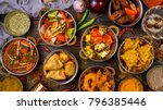 assorted indian food set on... | Shutterstock . vector #796385446