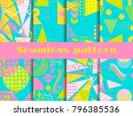 memphis seamless pattern set....   Shutterstock .eps vector #796385536