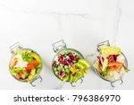fresh salads in jar with fresh...   Shutterstock . vector #796386970