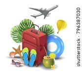 realistic summer vacation... | Shutterstock .eps vector #796387030