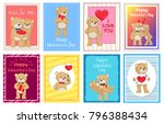 i love you and me teddy bears... | Shutterstock .eps vector #796388434