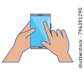 hand with smartphone device | Shutterstock .eps vector #796391290