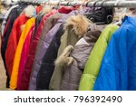 fashion winter coats hanged on... | Shutterstock . vector #796392490