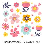Stock vector cute colorful set of vector floral elements spring collection of flowers and plants in bright 796394140