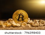 bitcoin over mound of gold ...   Shutterstock . vector #796398403
