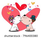 vector two dogs are in love and ... | Shutterstock .eps vector #796400380