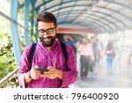 bearded indian man on metro... | Shutterstock . vector #796400920