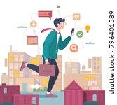 businessman go to work on urban ... | Shutterstock .eps vector #796401589