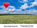 red hot air balloon in the... | Shutterstock . vector #796402234