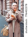 beautiful funny brunette woman... | Shutterstock . vector #796402378