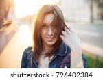 young beautiful woman summer... | Shutterstock . vector #796402384