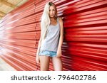 beautiful blonde sexy young... | Shutterstock . vector #796402786