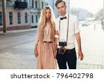 beautiful hipster couple... | Shutterstock . vector #796402798
