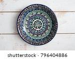 blank clean plate in moroccan...   Shutterstock . vector #796404886