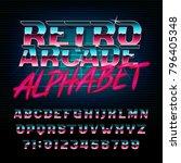 retro arcade alphabet font.... | Shutterstock .eps vector #796405348