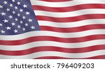 realistic waving flag of united ... | Shutterstock .eps vector #796409203