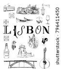 lisbon poster. vector set of... | Shutterstock .eps vector #796411450