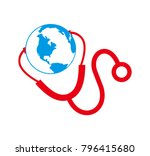 medical objects  globe with... | Shutterstock .eps vector #796415680