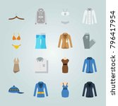 icon set about clothes and... | Shutterstock .eps vector #796417954