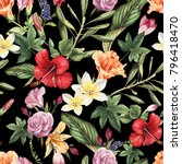seamless floral pattern with... | Shutterstock .eps vector #796418470