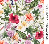 seamless floral pattern with... | Shutterstock .eps vector #796418473