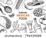 mexican food and drink sketch.  ... | Shutterstock .eps vector #796434088