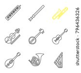 musical instruments linear... | Shutterstock .eps vector #796436326